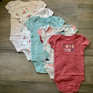 Carter's   5 Pack Bodysuits, Love You, 6 months
